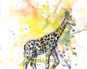Giraffe Art Print Animal Nursery Decor From Original Watercolor Painting Print 8 X 10 in Children Wall Art Decor Giraffe Nursery Art