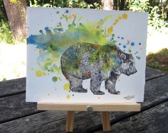 Grizzly Bear Art Original Animal Watercolor Painting - Great Kids Children's Wall Art Nursery Decor and Everyone Else