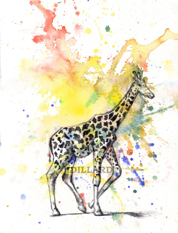 Giraffe Art Print Animal Nursery Decor From Original Watercolor Painting Print 8 X 10 in Children Wall Art Decor Giraffe Nursery Art