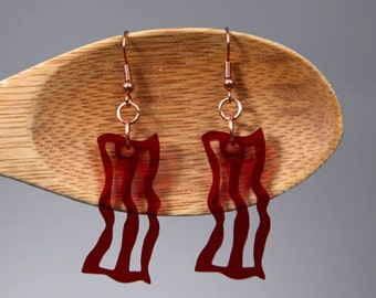 Bacon Earrings - Acrylic Fake Food Jewelry
