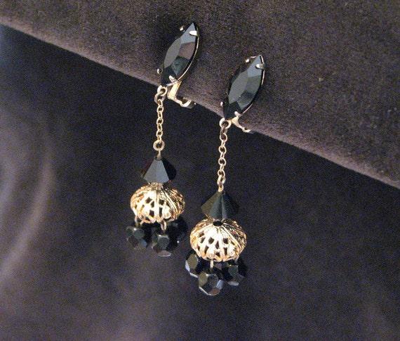 Vintage Lewis Segal Earrings Black Glass Dangle Clip On