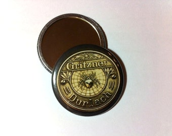 Gritzner Treadle Sewing Machine Spider and Web Emblem Pocket Mirror