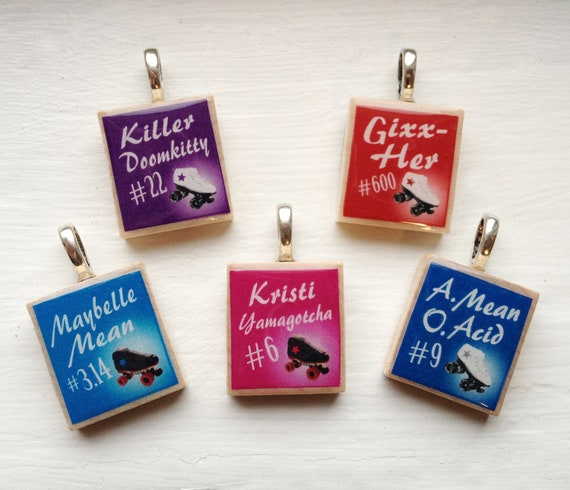 Roller Derby Custom Name Necklace Pendant - Wood and Silver Scrabble Tiles