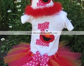 Elmo Birthday Tutu Set in Pink, Orange, and Red.  Includes Tutu and Embroidered Top.  Hat sold seperately.