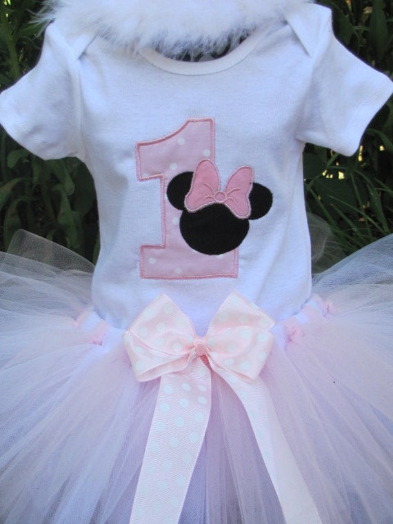 Ready to Ship Minnie Mouse First Birthday Tutu Set in Light Pink and White.   Size 12 months