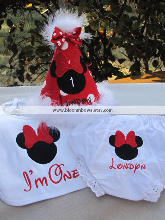 Minnie Mouse Birthday Cake Smash Set.  Includes Boutique Birthday Hat, Bloomers, and Bib.  Personalize and choose the colors.