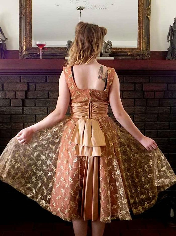 Vintage 50s Party Dress - 1950s Copper Embroidered Lace High End Dress Bustle and Shelf Bust Sm - on sale
