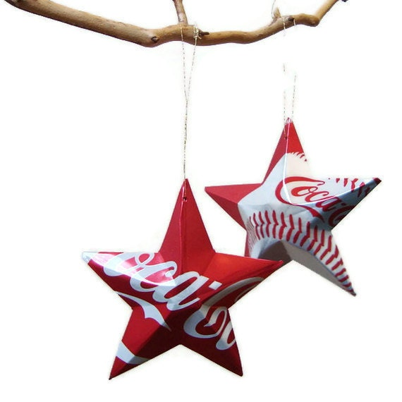 Coke Stars Christmas Ornaments Baseball Soda Can Upcycled Coca Cola Last one