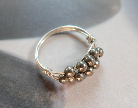 Golden pyrite ring, silver plated handmade wirewrapped jewelry