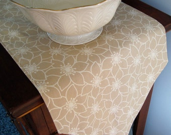 """Beige and Tan Floral  Table Runner 54""""-72""""  Reversible Neutral Beige Table Runner with White Flowers Beige Kitchen Decor Beige Table Decor"""
