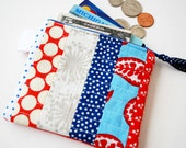 Zipper Wallet - Patchwork and Quilted - Women's - Festive Fireworks