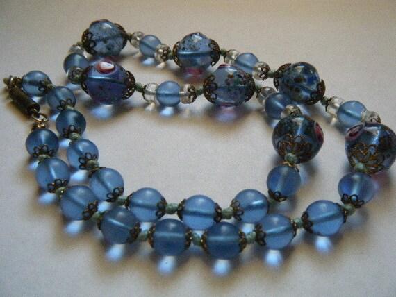 Vintage Necklace Blue Venetian Glass  Lampwork Beads