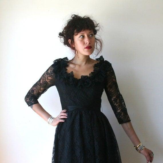 70s Oscar de la Renta Black Lace Cocktail Dress Sz S