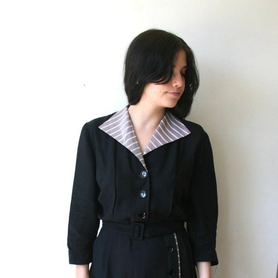 SALE 40s Black Striped Button Up Dress With Belt Sz L