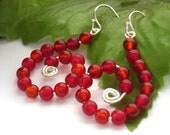 Red bead earrings sterling silver UK seller