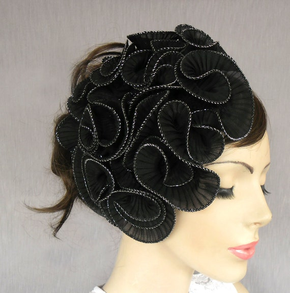 black ruffled hollywood hair fascinator weddings, handmade, unique item