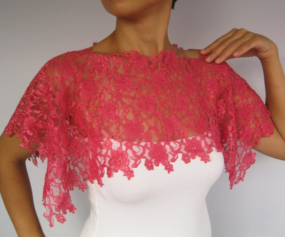 Pink Lace Shrug, Bridal Capelet, Off Shoulder Shawl. Handmade