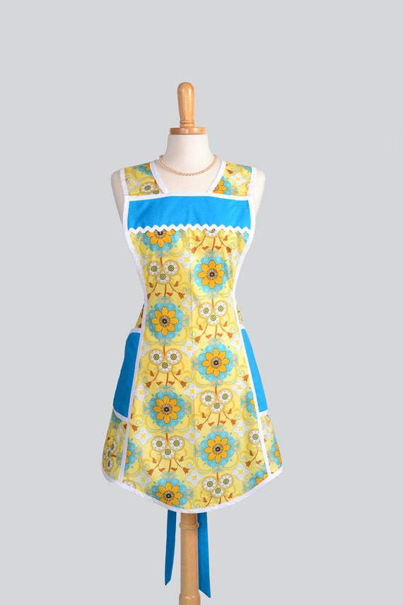 SALE 35% OFF Retro Full Kitchen Apron - Vintage Inspired Handmade Full Womens Apron in Teal and Yellow Geometric