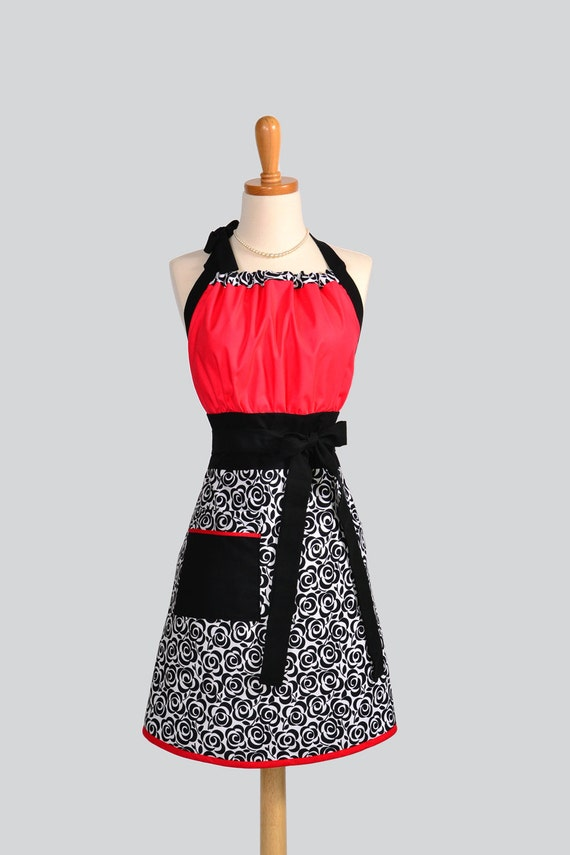 Cute Kitsch Retro Apron / Handmade Full Womens Apron White with Black Roses is a Breast Cancer For A Cause Fabric Trimmed in Red and Black