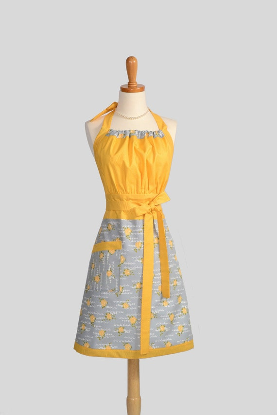 Cute Kitsch Apron / Womens Handmade Full Apron in Mustard Yellow Gold and Grey offer a French and Retro Appeal all in one Apron