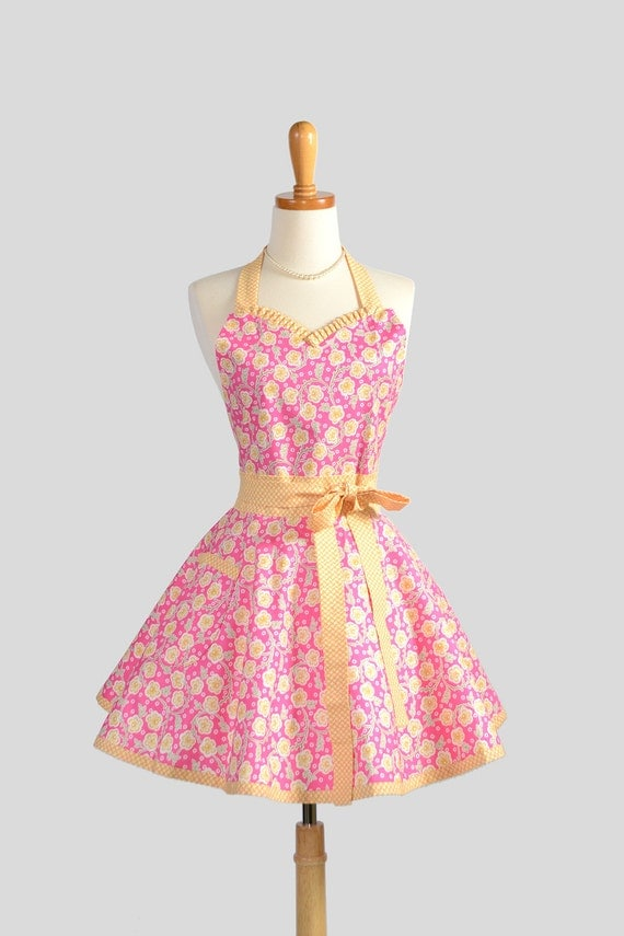 Sweetheart Retro Apron / Flirty Handmade Womens Apron in Rosy Hot Pink and Yellow Gold Trailing Floral Cute and Feminine