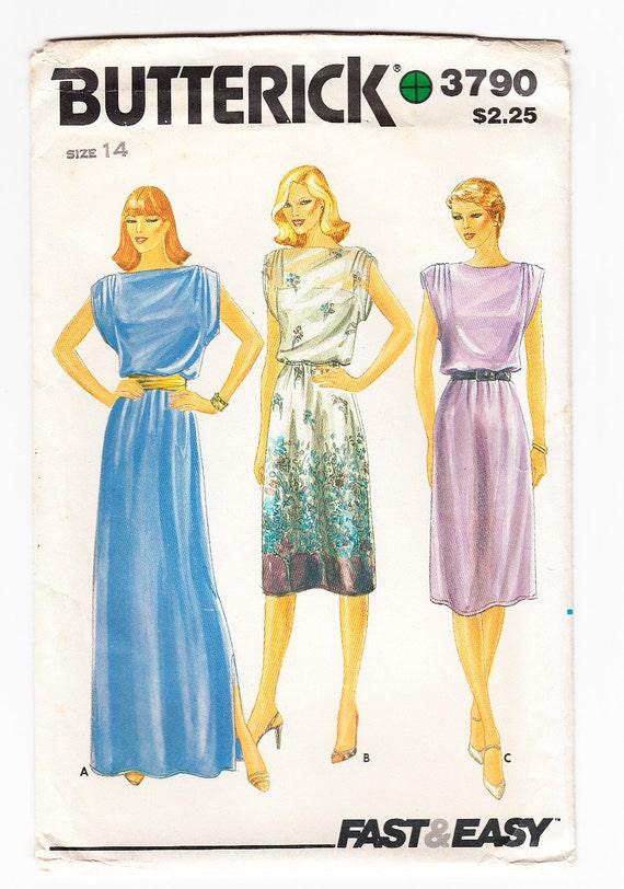 Vintage 1980s Butterick 3790 UNCUT Sewing Pattern Misses' Dress Size 14 Bust 36