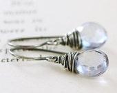 Blue Quartz Earrings Wrapped in Sterling Silver, Blue Gemstone Dangle Earrings Handmade