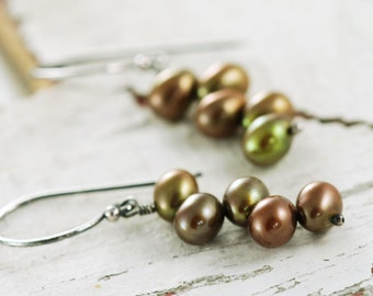 Rustic Brown Pearl Earrings Sterling Silver, Olive Green Cluster Earrings, Autumn Fashion, aubepine