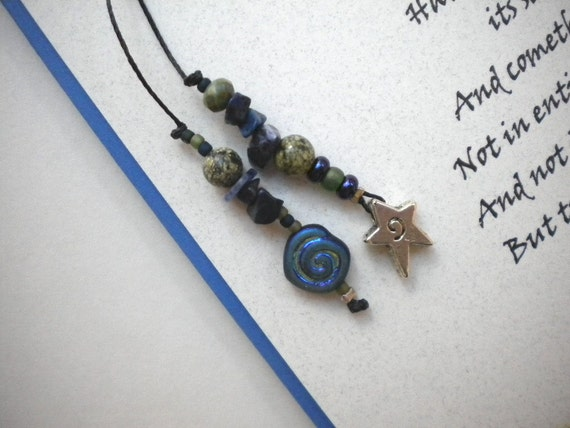 Handmade Card with Beaded Book Thong - OUR LIFE'S STAR - with quote by Wm. Wordsworth