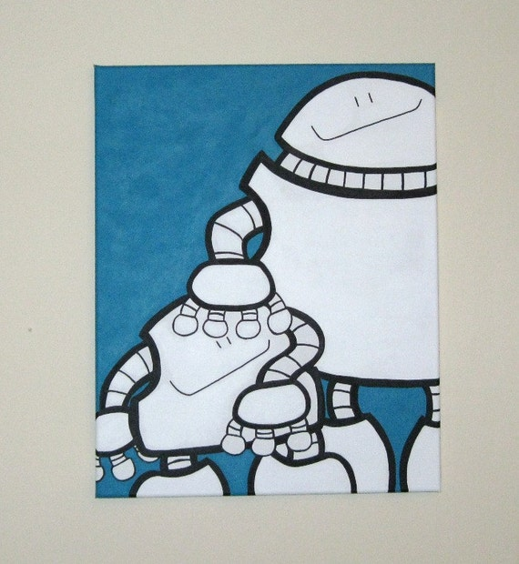 Acrylic Painting On Canvas - Original - Robots