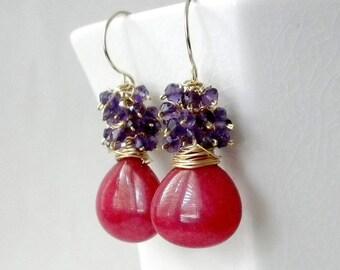 Purple Amethyst Earring, Gemstone Cluster Earring, Amethyst Cluster Earring