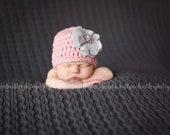 Organic Cotton Beanie Hat - Light Pink Hat with Grey Linen Flower and Rhinestone - Fancy Newborn Photo Prop