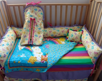 Carebear Crib bedding - Free personalized pillow