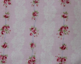 Yuwa Pink Stripe Cotton Fabric Tiny Pink Roses CR816081