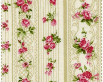 Romantic Memories Cotton Fabric Quilt Gate 8787-3A Taupe stripes and pretty pink roses