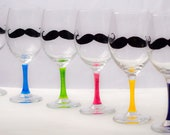 SALE - One Hand Painted Mustache Wine Glass