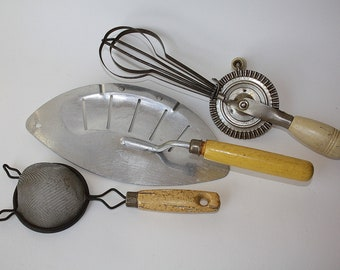 Vintage Kitchen Utensils Hand Mixer Strainer and Wire Strainer with Cream and Yellow Handles
