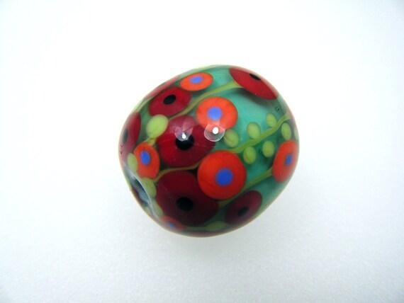 Moogin -Turquoise poppy field oval focal bead - lampwork - SRA