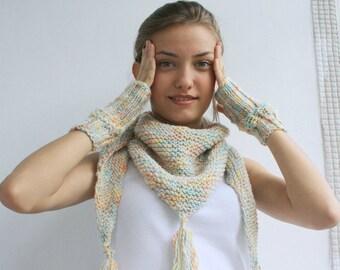 Handmade WARM SET Colorful Rainbow  Triangle Mini Shawl  And Fingerless Gloves  scarf collar Capelet Cowl Handmade Gift