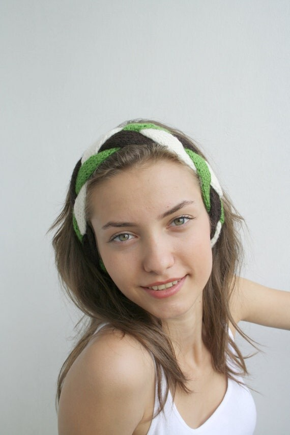 3 Colors Head Band Green Cream Brown Earwarmer Scarf Mother's day Gift