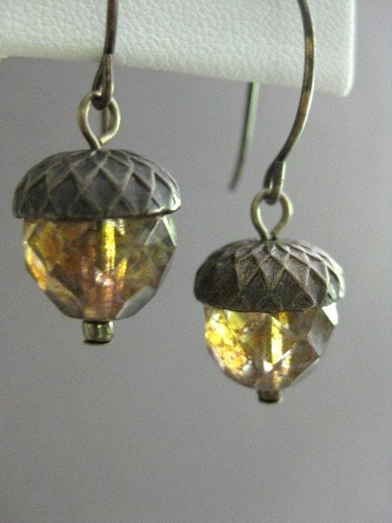 Acorn Earrings, Natural Brass Earrings, Woodland, Fall Earrings, Autumn Earrings, Earthy and Natural, E 219
