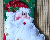 Completed FeltWorks Christmas Stocking Sequined Santa