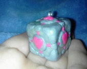 Large Shiny/Glittery polymer clay Companion Cube Charm - Glows-in-the-Dark