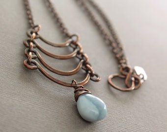 Egyptian copper necklace with cascade and blue opal briolette pendant - Gemstone necklace - Cascade necklace - Ladder necklace - NK002