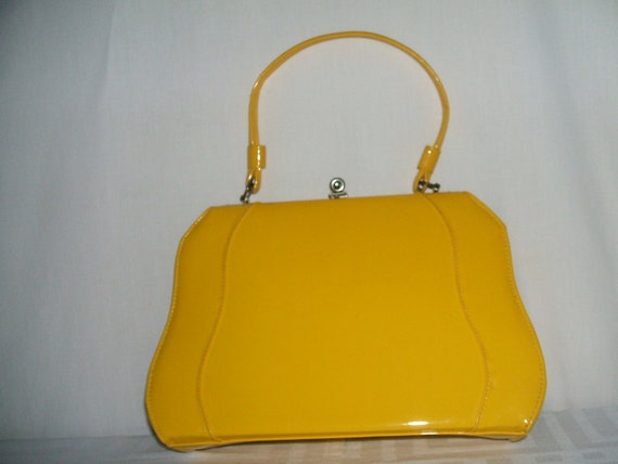 Bright Yellow Patent Leather Vintage Handbag By Msanetvtg