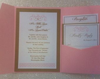 Romantic wedding invitation pocket fold