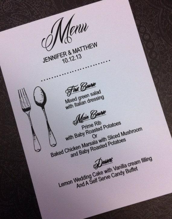 Wedding reception menu or rehearsal dinner menu by designstoinvite