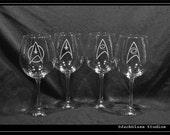 Star Trek Wine Etched Glass set of 4 Glasses for Trekkies, Klingons, Vulcans, Romulinsand Humans alike by Jackglass on Etsy
