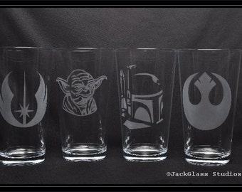 Star Wars Themed Wedding Pint Glasses Etched using Sandcarving by Jackglass on Etsy