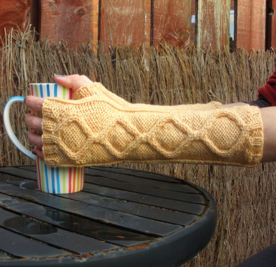Just Peachy Long Hand Knitted Cable Design Fingerless Gloves - Naturally Dyed Merino Wool - Organic Accessory - Ready to Ship